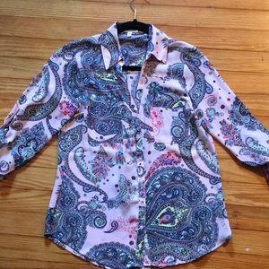 Express Pink Paisley Portofino Shirt